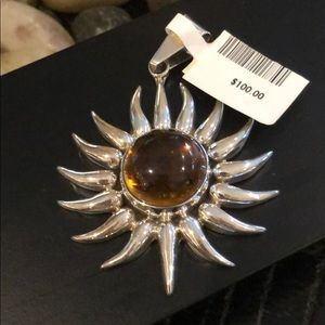 Silver Sun Pendant with amber center